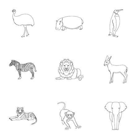 Struisvogelemoes, krokodil, giraf, tijger, pinguïn en andere wilde dieren. Artiodactyla, zoogdierroofdieren en dieren geplaatst inzamelingspictogrammen in van de het symboolvoorraad van de overzichtsstijl vector de illustratieweb.