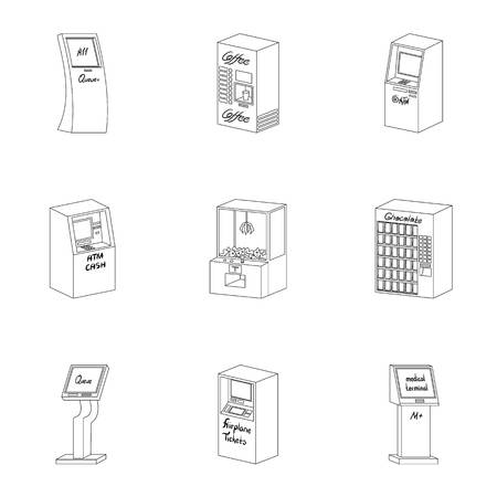 monitor: ATM, coffee machine, information apparatus and other types of terminals. Terminals set collection icons in outline style isometric vector symbol stock illustration .