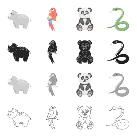Animal hippopotamus, bamboo bear koala, parrot, poisonous snake. Animals set collection icons in cartoon black monochrome outline style vector symbol stock illustration web. 向量圖像