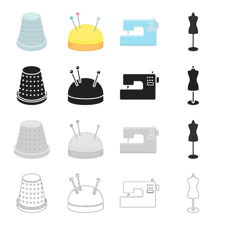 sewing machines: Electric sewing machine, sewing thimble, pincushion, equipment mannequin. Sewing and equipment set collection icons in cartoon black monochrome outline style vector symbol stock illustration web.
