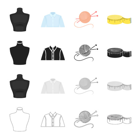 Measuring tape for sewing, mannequin, mans shirt, tangle with knitting needles. Sewing and equipment set collection icons in cartoon black monochrome outline style vector symbol stock illustration web.