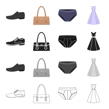 Clothing, dress, sarafan, accessories, ladies bag, mens shoes, panties. Clothes and accessories set collection icons in cartoon black monochrome outline style vector symbol stock illustration web.