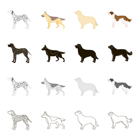Dalmatian dog, German Shepherd, breed retriever, St. Bernard. Dog breeds set collection icons in cartoon black monochrome outline style vector symbol stock illustration .