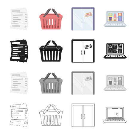 Cash receipt for purchase, shopping basket, the door is open, sale on the Internet. Sale and purchase,e-commerce set collection icons in cartoon black monochrome outline style vector symbol stock illustration .