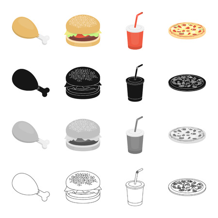 Chicken legs, fast food burger, Cola in a glass, pizza. Fast food set collection icons in cartoon black monochrome outline style vector symbol stock illustration web.