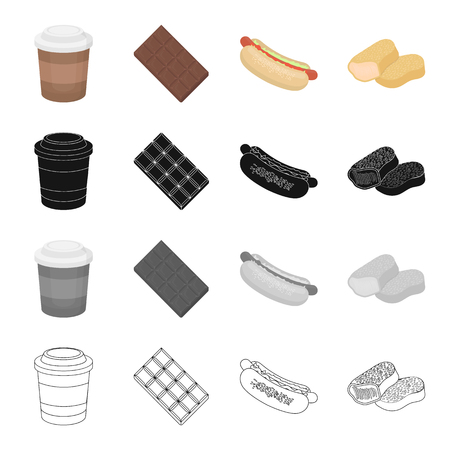 hot dog: Coffee take-away, chocolate tile, hot dog food, nugget. Fast food set collection icons in cartoon black monochrome outline style vector symbol stock illustration . Illustration