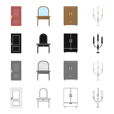 A door, a piece of furniture a dressing table, a wardrobe, a candlestick. Furniture set collection icons in cartoon black monochrome outline style vector symbol stock illustration web.
