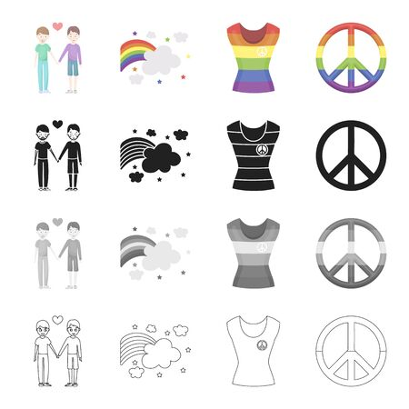 rainbow colors: A pair of people, a rainbow, a T-shirt, a minority, a rainbow sign of freedom. The minority set collection icons in cartoon black monochrome outline style vector symbol stock illustration .