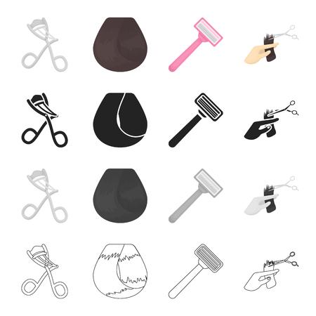 Fers à friser, cheveux bouclés, rasoir, coiffeur coupe les cheveux. Salon de coiffure set icônes de la collection en illustration stock de symbole de vecteur noir contour monochrome style dessin animé.