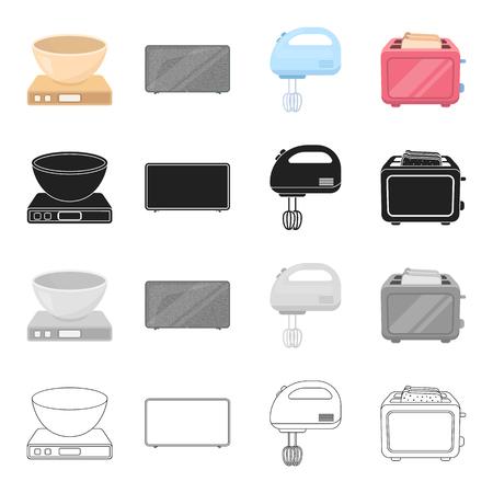 プラズマ テレビ、家庭用ミキサー、トースター、スケールの上にボウル。家電は、漫画白黒黒のアウトライン スタイル ベクトル シンボル ストック  イラスト・ベクター素材