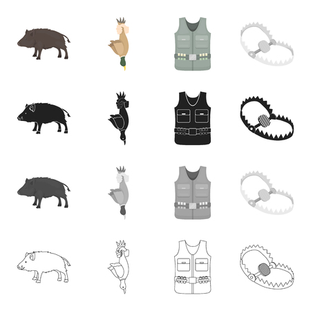 Wild boar, duck game, hunters vest, trap on the beast. Hunting set collection icons in cartoon black monochrome outline style vector symbol stock illustration web. Illustration