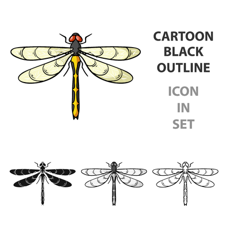 Dragonfly icon in cartoon design isolated on white background. Insects symbol stock vector illustration. Illustration