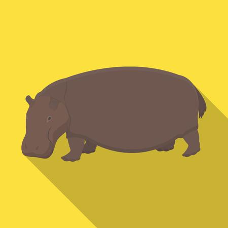 behemoth: Hippopotamus, an omnivorous artiodactyl animal. The African great hippopotamus single icon in flat style vector symbol stock illustration web.