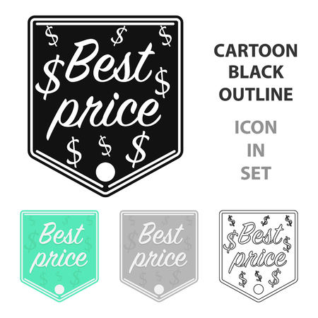 Best price icon in cartoon style isolated on white background. Label symbol vector illustration.