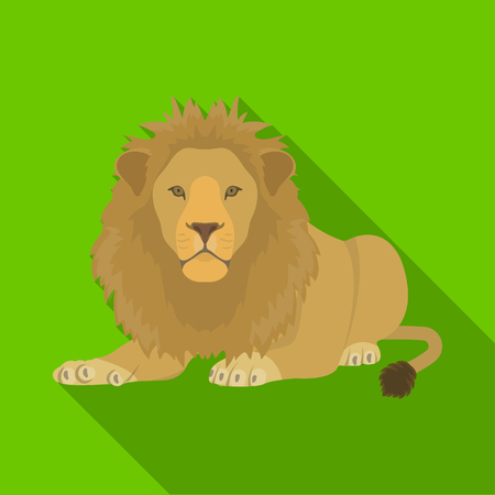 A lion, a wild and ferocious predator. Leo, the king of beasts single icon in flat style vector symbol stock illustration web. Ilustrace