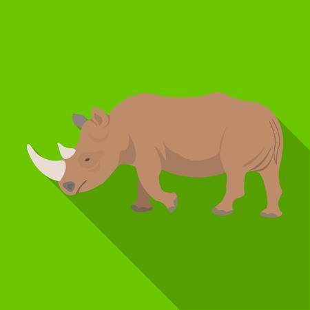 大規模なインドのサイ。野生動物は、サイの単一フラット スタイル ベクトル シンボル ストック イラスト web のアイコン。  イラスト・ベクター素材