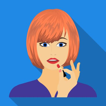 brown haired girl: Girl, single icon in flat style.Girl vector symbol stock illustration web.