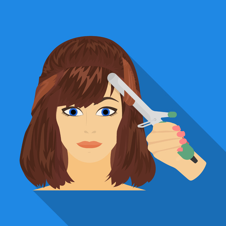 brown haired girl: Hair single icon in flat style.Hair, vector symbol stock illustration web.
