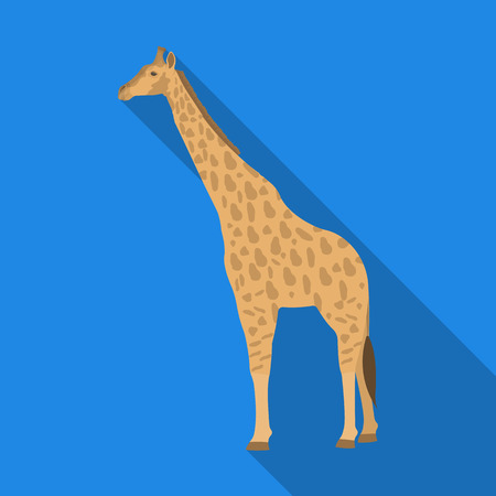 Giraffe is the highest land animal. A wild animal, a giraffe single icon in flat style vector symbol stock illustration web. Ilustrace