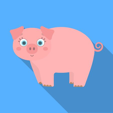 Piglet, single icon in flat style.Piglet vector symbol stock illustration web.