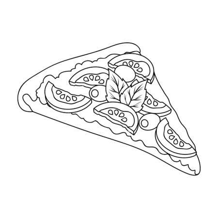 mayonnaise: A slice of pizza with different ingredients. Different pizza single icon in outline style vector symbol stock illustration .