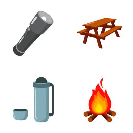 A flashlight, a table with a bench, a with a cup, a caster. Camping set collection icons in cartoon style vector symbol stock illustration . Illustration