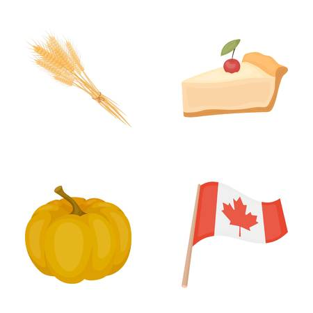 Spike of wheat, a piece of pie with cranberries, pumpkin, national flag.Canada thanksgiving day set collection icons in cartoon style vector symbol stock illustration . Illustration