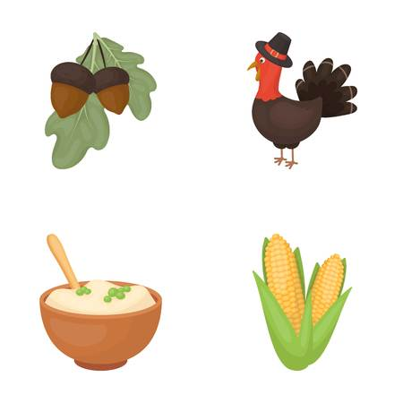 Acorns, corn.arthene puree, festive turkey,Canada thanksgiving day set collection icons in cartoon style vector symbol stock illustration .