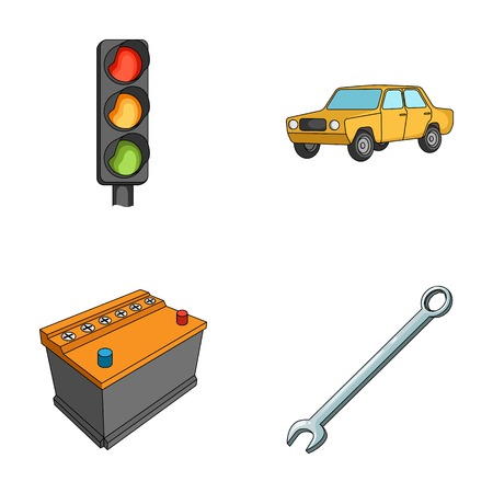 car isolated: Traffic light, old car, battery, wrench, Car set collection icons in cartoon style vector symbol stock illustration .