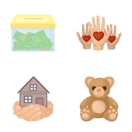patronize: Boxing glass with donations, hands with hearts, house in hands, teddy bear for charity. Charity and donation set collection icons in cartoon style vector symbol stock illustration . Illustration