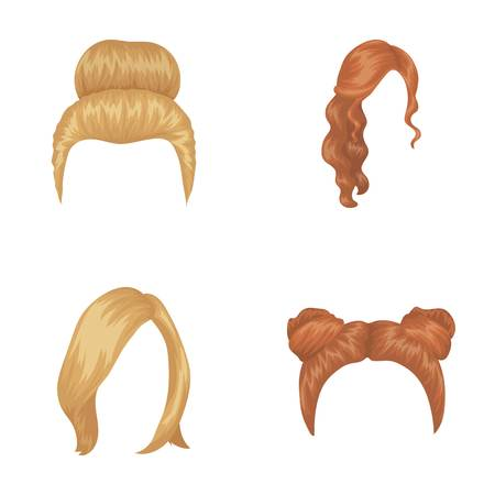 Blond with a bunch, red wavy and other types of hair. Back hair,set collection icons in cartoon style vector symbol stock illustration . Illustration