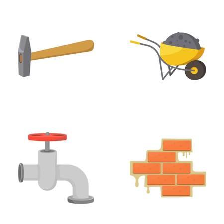 Martillo, carretilla con carga, grifo de agua, ladrillo. Conjunto de iconos de conjunto de iconos de conjunto de dibujos animados. Ilustración de vector