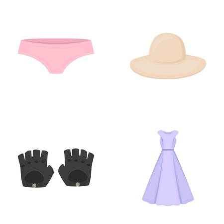 Panties, gloves, dress, hat. Clothing set collection icons in cartoon style vector symbol stock illustration .