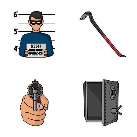 Photo of criminal, scrap, open safe, directional gun.Crime set collection icons in cartoon style vector symbol stock illustration .