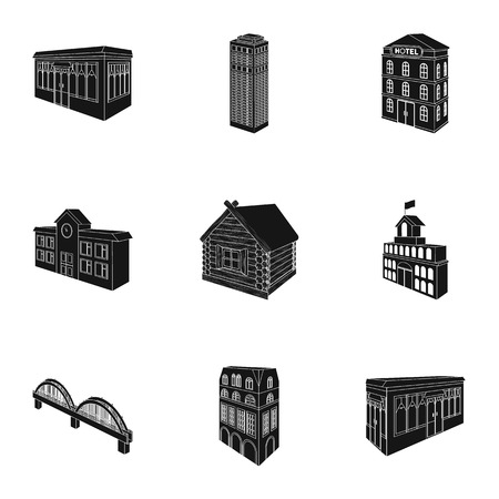 house logo: Municipality building, bank office building, stable, wooden hut, bridge and other architectural structures. Architecture and facilities set collection icons in black style vector symbol stock illustration .