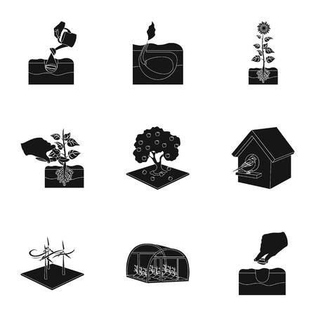 company, vegetable garden and other web icon in black style. Ilustração