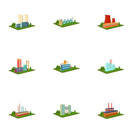 Processing factory,metallurgical plant and other production. Factory and industry set collection icons in cartoon style isometric vector symbol stock illustration