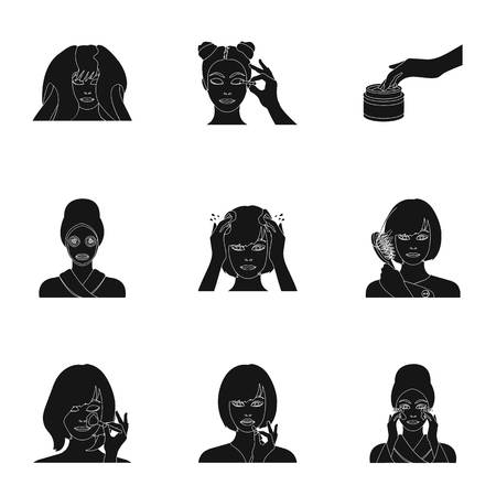 brown haired girl: Hairdresser, cosmetic, salon, and other  icon in black style. Bathroom, hygiene,shampoo, icons in set collection.