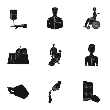 diabetes syringe: Injured in a stroller, blood transfusion, blood sugar test, doctor, medical staff. Medicine set collection icons in black style vector symbol stock illustration . Illustration