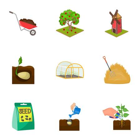 company, vegetable garden and other web icon in cartoon style.