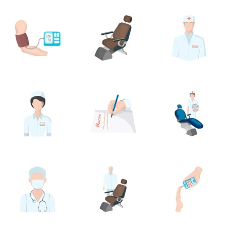 diabetes syringe: Injured in a stroller, blood transfusion, blood sugar test, doctor, medical staff. Medicine set collection icons in cartoon style vector symbol stock illustration .