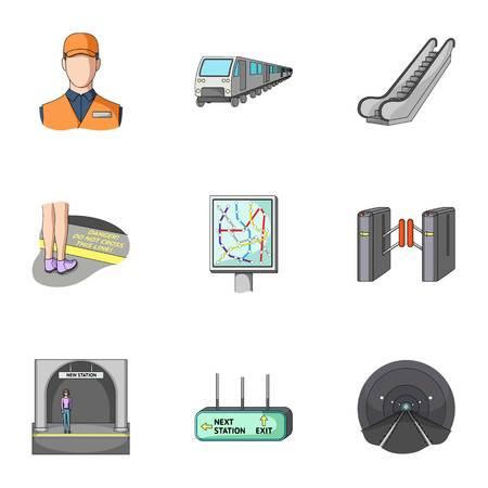 Movimiento, transporte eléctrico y otro icono en estilo de dibujos animados. Público, transporte, significa los iconos en la colección del sistema. Ilustración de vector