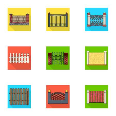 A fence of metal and bricks,wooden palisade and other varieties. A different fence set collection icons in flat style vector symbol stock illustration .