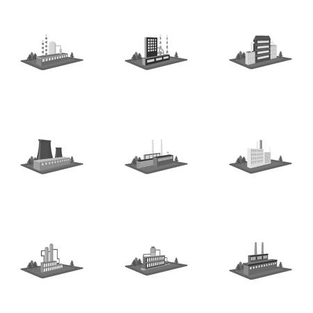 Processing factory,metallurgical plant and other production. Factory and industry set collection icons in monochrome style isometric vector symbol stock illustration Фото со стока - 85999037