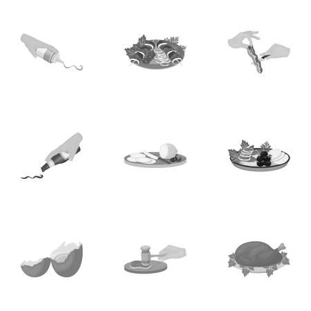 Pollo frito, chuleta de cocina, cortar las verduras, shish kebab y otros elementos de la cocina. Conjunto de iconos de colección de iconos en blanco y negro.