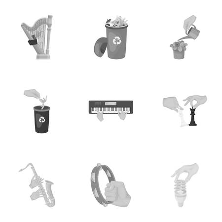 racing sign: Musical instrument, garbage and ecology, electric appliance and other  icon in monochrome style. Megaphone, finishing checkered flag, gesture and manipulation with hands icons in set collection.