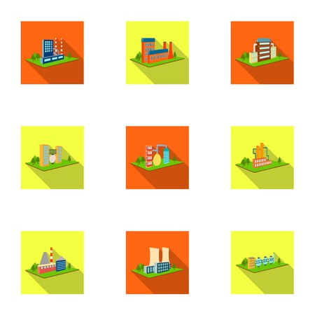 Processing factory,metallurgical plant and other production. Factory and industry set collection icons in flat style isometric vector symbol stock illustration