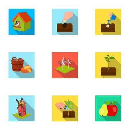 company, vegetable garden and other web icon in flat style.