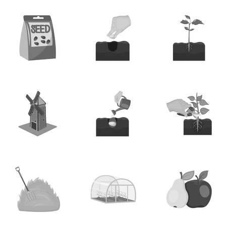 company, vegetable garden and other web icon in monochrome style.