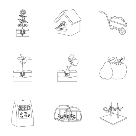 company, vegetable garden and other web icon in outline style. Ilustração